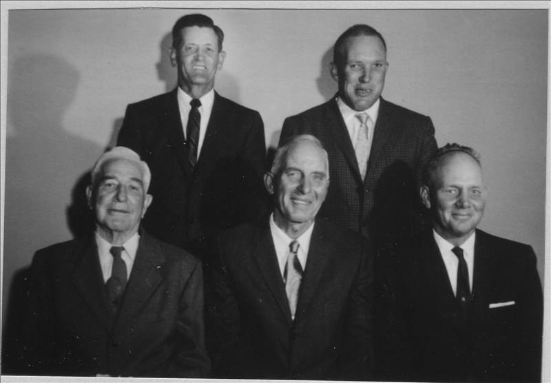 Starrh Ward Bishops: front- Alma Tilley (1st Bishop of Starrh Ward ); A.L. Hanks (3rd Bishop of Starrh Ward) ; Con Anderson(5th Bishop of Starrh Ward ); back row- Weldon Beck(4th Bishop of Starrh Ward); Dick Holyoak (6th Bishop of Starrh Ward) [2nd Bishop of Starrh Ward, not shown]