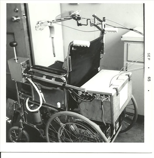 Dwain Pruitt's wheel chair with electric control box.